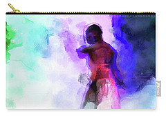 Moment In Blue - African Dancer Carry-all Pouch by Cedric Hampton