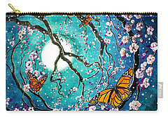 Monarch Butterflies In Teal Moonlight Carry-all Pouch by Laura Iverson