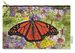 Monarch Butterfly On Purple Flowers Watercolor Batik Carry-all Pouch