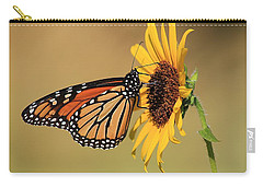 Monarch Butterfly On Sun Flower Carry-all Pouch