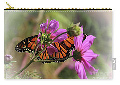 Monarch Butterfly On The Pink Cosmos Carry-all Pouch by Yumi Johnson
