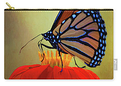 Carry-all Pouch featuring the photograph Monarch On A Mexican Sunflower by Chris Lord