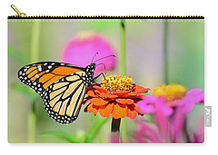 Carry-all Pouch featuring the photograph Monarch On A Zinnia by Rodney Campbell