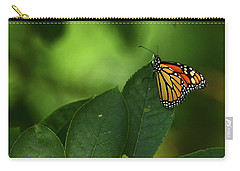 Carry-all Pouch featuring the photograph Monarch On Leaf by Ann Bridges
