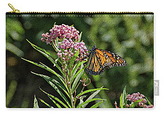 Carry-all Pouch featuring the photograph Monarch On Milkweed by Sandy Keeton
