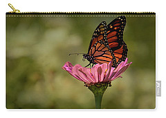 Carry-all Pouch featuring the photograph Monarch On Pink Zinnia by Ann Bridges