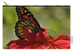 Carry-all Pouch featuring the photograph Monarch On Red Zinnia by Ann Bridges