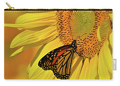 Carry-all Pouch featuring the photograph Monarch On Sunflower by Ann Bridges