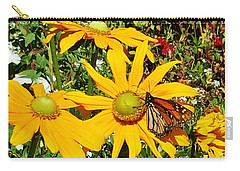 Monarh Butterfly On Yellow Flower Carry-all Pouch