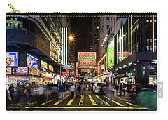 Carry-all Pouch featuring the photograph Mong Kok Crosswalk by Geoffrey C Lewis