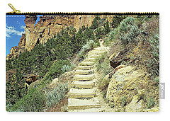 Carry-all Pouch featuring the digital art Monkey Face Rock - Smith Rock National Park, Oregon by Joseph Hendrix