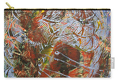 Carry-all Pouch featuring the drawing Mono Print 002 - Elephant In Misty Jungle by Mudiama Kammoh