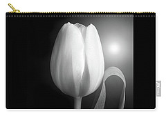 Monochrome Tulip Portrait Carry-all Pouch by Terence Davis