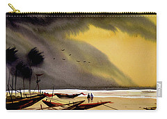 Monsoon Seashore And Fishing Boats Carry-all Pouch by Samiran Sarkar