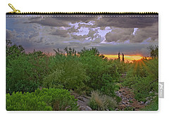 Carry-all Pouch featuring the photograph Monsoon Sunset H56 by Mark Myhaver