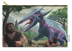 Carry-all Pouch featuring the painting Monster Attacking Cavemen by Martin Davey