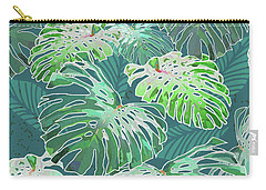 Monstera Jungle Teal Carry-all Pouch