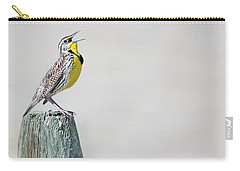 Carry-all Pouch featuring the photograph Montana Meadowlark's Spring Song by Jennie Marie Schell