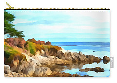 Carry-all Pouch featuring the photograph Monterey Coastline Watercolor by Floyd Snyder