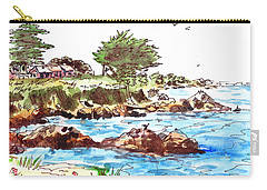 Carry-all Pouch featuring the painting Monterey Shore by Irina Sztukowski