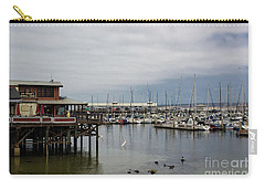 Carry-all Pouch featuring the photograph Monterey Wharf Meets Harbor by Suzanne Luft