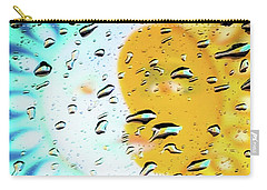 Carry-all Pouch featuring the photograph Moon And Sun Rainy Day Windowpane by D Davila