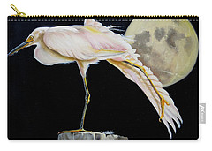 Carry-all Pouch featuring the painting Moon Over Mississippi A Snowy Egrets Perspective by Phyllis Beiser