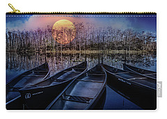 Carry-all Pouch featuring the photograph Moon Rise On The River by Debra and Dave Vanderlaan
