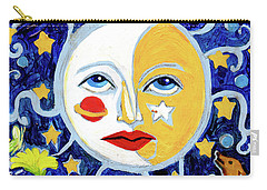 Carry-all Pouch featuring the painting Moonface With Wolf And Stars by Genevieve Esson
