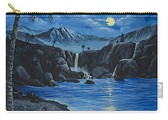 Carry-all Pouch featuring the painting Moonlight And Waterfalls by Darice Machel McGuire