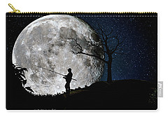 Moonlight Fishing Under The Supermoon At Night Carry-all Pouch by Justin Kelefas
