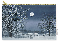 Moonlit Snowy Scene On The Farm Carry-all Pouch
