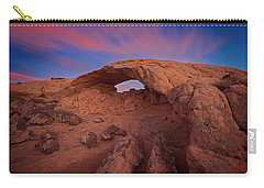 Carry-all Pouch featuring the photograph Moonrise Arch by Edgars Erglis