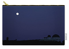 Moonrise At Blue Hour Over Griffith Observatory In Los Angeles Carry-all Pouch