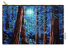 Moonrise Over The Los Altos Redwood Grove Carry-all Pouch by Laura Iverson