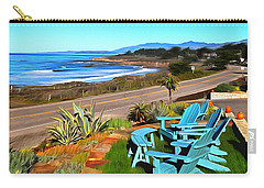 Carry-all Pouch featuring the photograph Moonstone Beach Seat With A View Digital Painting by Barbara Snyder