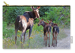 Moose Mom And Babies Carry-all Pouch by Cindy Murphy - NightVisions