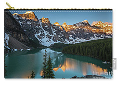 Moraine Lake Golden Sunrise Reflection Carry-all Pouch by Mike Reid
