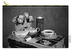 Carry-all Pouch featuring the photograph Morning Coffee And Reading Magazine Time by Sherry Hallemeier