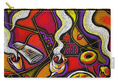 Carry-all Pouch featuring the painting Morning Coffee Cup And Muffin  by Leon Zernitsky
