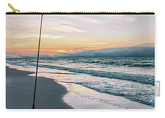 Carry-all Pouch featuring the photograph Morning Fishing At The Beach  by John McGraw