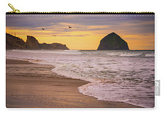 Carry-all Pouch featuring the photograph Morning Flight Over Cape Kiwanda by Darren White