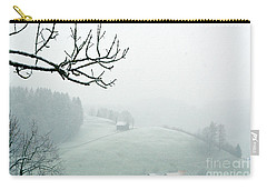 Carry-all Pouch featuring the photograph Morning Fog - Winter In Switzerland by Susanne Van Hulst