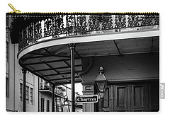 Morning Light In The French Quarter In Black And White Carry-all Pouch