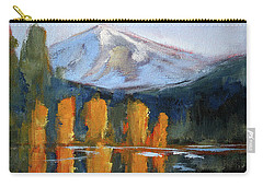 Carry-all Pouch featuring the painting Morning Light Mountain Landscape Painting by Nancy Merkle