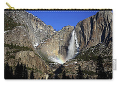Carry-all Pouch featuring the photograph Morning Light On Upper Yosemite Falls In Winter by Jetson Nguyen