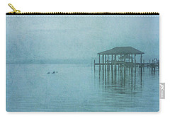 Carry-all Pouch featuring the digital art Morning Mist In Blue by Randy Steele