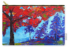 Morning Mist Landscape - Modern Impressionistic Palette Knife Oil Painting Carry-all Pouch