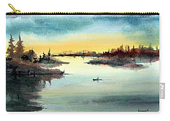 Carry-all Pouch featuring the painting Morning On The Lake by Sam Sidders