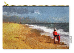 Morning Walk Along The Beach Carry-all Pouch
